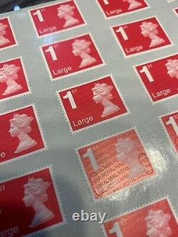 1000 x Royal Mail First Class Large Letter Stamps Unfranked New Gum