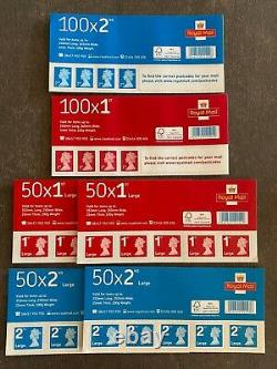 100 x 1st 100 x 2nd 100 x 1st Large 100 x 2nd Royal Mail Stamps 400 total Class