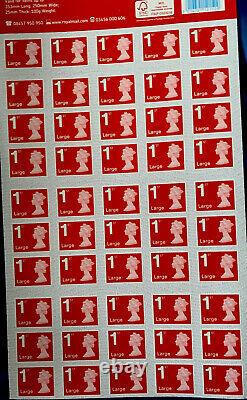 10 x (50 x 1st class large letter stamps first class Sheets UK New Royal Mail)
