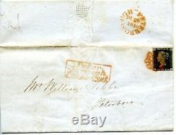 1840 GREAT BRITAIN 1d BLACK COVER PLATE 1b 3MARGIN PETERBOROUGH PENNY POST PMK