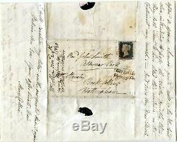 1840 GREAT BRITAIN 1d BLACK COVER PLATE 2 4 MARGIN OTTERY ST. MARY +EXETER P. POST