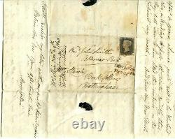 1840 GREAT BRITAIN 4 MARGIN 1d BLACK COVER PLATE 2 +OTTERY ST MARY PENNY POST
