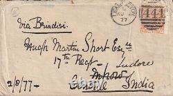 1877 GB LEAMINGTON Military to India 17th Regiment MHOW SEA POST OFFICE D