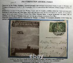 1911 England First Aerial Post Coronation Postcard to Capetown South Africa Ffc