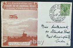 1911 London England First UK Aerial Post office cover To Windsor Early Airmail