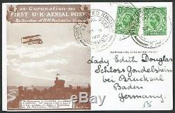 1911 Windsor First Aerial Post to Baden Germany Die 2 First Day 2x KGV 1/2d
