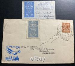 1934 London England Air Post Exhibition APEX Cover FFC To Piedmont CA USA