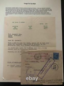 1944 Newport England Tin Can Canoe Mail Cover To Niuafoou Tonga Toga W Letter