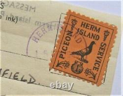 1949 Herm Island UK Great Britain Pigeon Post Service Super Rare used on Flimsy