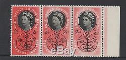 1961 Post Office Savings. 2 1/2d strip x 3 with progressive printing error. MNH