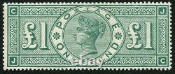 £1 GREEN SG 212a VARIETY,'JC' FRAME BREAK U/M, well centred pristine'Post-Off