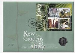 2009. Kew Gardens 250. Royal Mail /Mint FDC 50p coin cover