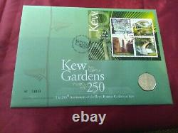 2009. Kew Gardens 250. Royal Mail /Mint FDC 50p coin cover Issue No. 04835
