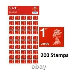 200 Royal Mail 1st First Class Large Letter Postage Stamps