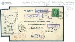 365g 1947 GB CHINA MAIL RETOUR Worcester Cover Liquidee/Closed TIENTSIN Cachet