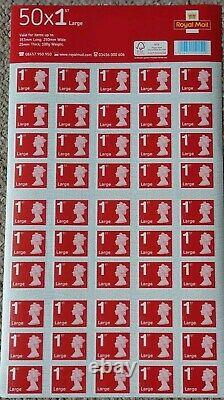 4 X 50 (200) BRAND NEW Royal Mail 1st class LARGE stamps. 4 SHEETS OF 50