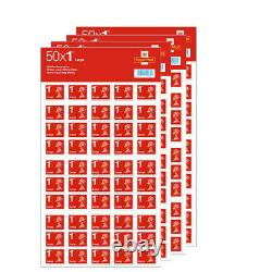 4x 50 Royal Mail First Class Large Letter Size 1st Class Stamps Sheet
