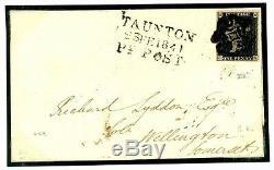 711c GB PENNY BLACK COVER 1841 SuperbTaunton Penny Post 1d Plate VIII (SK) Som