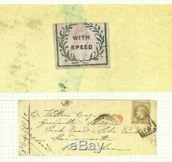 France GB MAIL 1871 Wafer Seal WITH SPEED 30c Napoleon Cover Birmingham Ap292
