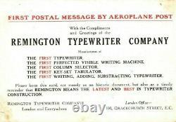 GB 1911 First UK Air Mail Postcard REMINGTON TYPEWRITER ADVERT samwellsY24a