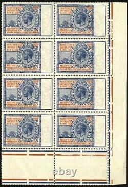 GB 1911 (REVENUES) SGPOSB2 1s Light blue and red Post Office Savings Bank block