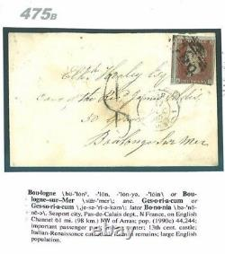 GB DESTINATION MAIL 1850 Liverpool Underpaid Cover Single Penny Red FRANCE 475b