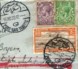 GB EGYPT KGV Cover Air Mail Forwarded 1933 Port Said SHIPSS Maduro KENYA MC21a
