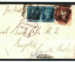 GB EMBOSSED 10d Cover 2d Blue Pair TRANSATLANTIC Canada Mail Cat £3,000+ MC157