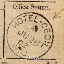 GB Hotel Post Office HOTEL CECIL CDS Telegraph & 1902 Original Cover MS1845
