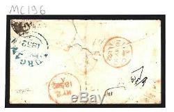 GB IRELAND Cover 1s EMBOSSED SUPERB Lurgan 316 Numeral 1852 India Mail MC196