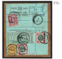 GB KEVII HIGH VALUE £1 SG. 266 Parcel Post Label JERSEY Channel Islands RARE 11j