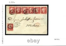 GB LATE FEE DESTINATION MAIL Cover SG. 40 STRIP OF SIX Id Red 1862 Milan L26b