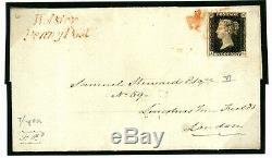 GB PENNY BLACK Cover 1841 Wolston Penny Post 1d Plate VI (AL) Warwicks 776b