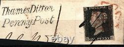 GB PENNY BLACK SG. 2 Plate 2 (HC) PEN CANCEL Thames Ditton Penny Post Piece SS437