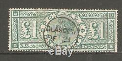 GB QV SG212 £1 Green Glasgow Feb 21th 1894 Post mark