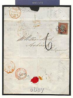 GB SG. 12 Cover UNDERPAID DESTINATION MAIL Mansfield Notts 1852 BELGIUM MS1503