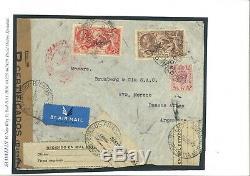 GB Seahorse Cover INTERRUPTED ARGENTINA AIR MAIL 1939 MAL ESTADO Labels MC1