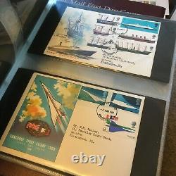GB Stamps 5 Royal Mail Albums With 100's Of First Day Covers 1969-2003 Superb