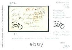 GB UPP Cover 1842 Tonbridge PD. 1D Superb Manuscript Paid Penny Post KENT A33a