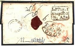 GB WALES INDIA MAIL Cover Newtown Mont 1830 SHIP LETTER Postmarks MILITARY A4G24