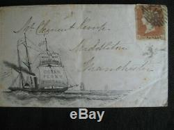 Great Britain 1853 Ocean Penny Post Illustrated Cover tied with imperf Penny Red