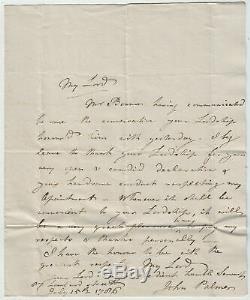 JOHN PALMER, Mail Coach Pioneer, fine original Autograph Letter Signed 1786