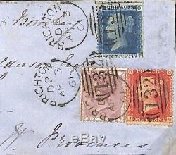 MS2206 1861 GB INDIA MAIL Brighton Sideways Duplex Superb 2d Blue 1d Red Cover