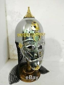 Medieval Asian Armor Helmet With Face Plate & Chain-mail best quality of items