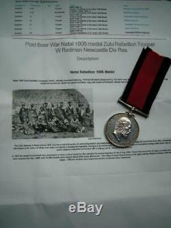 Post Boer War Natal 1906 medal Zulu Rebellion Trooper W Redman Newcastle Div Res
