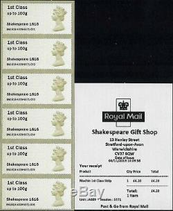 Post & Go 2019 Shakespeare Symbolic Flowers 1564 Ma17 Machin 1616 Ma14 Error