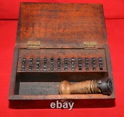 Post Office Date Stamp Complete Set in Vintage Wooden Box Very Rare