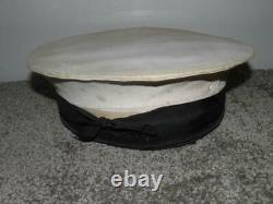 Post WW2 1945 Military Royal Navy H. M. S Raleigh Plymouth A. Elkins' Cap & Box