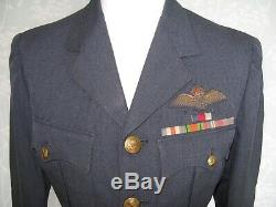 Post WW2 1948 RAF named Officer tunic with WW2 ribbon medals & pilot wings badge