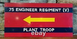 Post WW2 British Army 75 Engineer Regiment (V) Plant Troop Sign Plaque Genuine